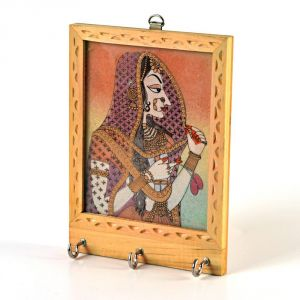 Vivan Creation Rajasthani Gemstone Painting Key Holder Gift -121