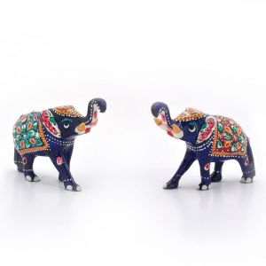 Vivan Creation Enamel Work Pure Brass Elephant Pair Gift -133