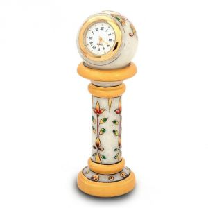 Vivan Creation Ethnic Design Marble Table Clock Handicraft -145
