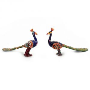 Vivan Creation White Metal Handpaint Peacock Pair Handicraft -152