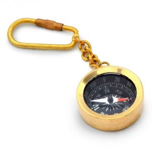 Vivan Creation Antique Brass Handcrafted Compass In Keychain -161