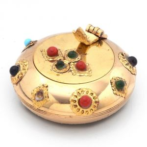 Ashtrays - Vivan Creation Pure Brass Gemstone Ash Tray Handicraft Gift -172