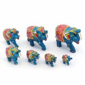 Vivan Creation Handmade Paper Mache Work 7 Piece Elephant Set -175