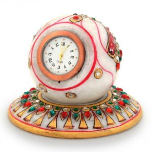 Vivan Creation Gold Painted Handmade Round Marble Table Clock 177