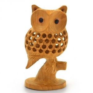 Wooden Handicrafts - Vivan Creation Good Luck Sign Wooden Owl Sitting Tree Branch -180