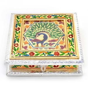 Vivan Creation White Metal Pure Meenakari Work Dry Fruit Box -191