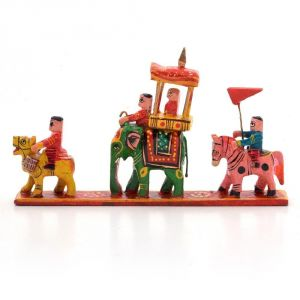 Wooden Handicrafts - Vivan Creation Royal Maharaja Procession Wood Handicraft Item 204