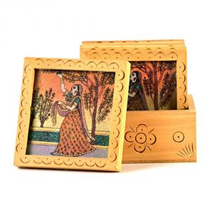 Vivan Creation Unique Gemstone Painted Square Tea Coaster Set 212