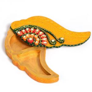 Home Decor (Misc) - Vivan Creation Meenakari Shankh Shape Shubh Labh Container 249