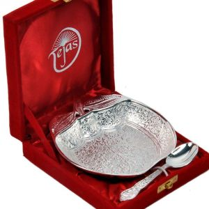 Vivan Creation Silver Polished Apple Shape Brass Bowl N Spoon 273