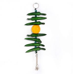 Vivan Creation Lemon Green Chilly Wall Hanging In White Metal 285