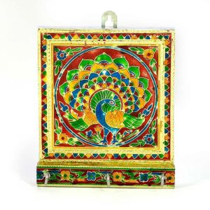 Vivan Creation Meenakari Artwork 3 Key Stand In White Metal 286