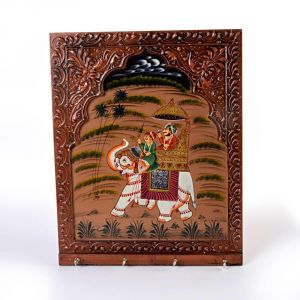 Vivan Creation Wooden Carved And Hand Painted Four Key Stand 297
