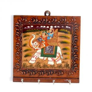 Vivan Creation Wooden Carved And Hand Painted Four Key Stand 300