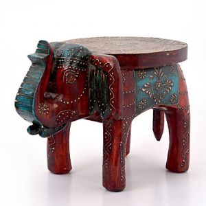 Wooden Handicrafts - Vivan Creation Designer Wooden Elephant Stool Handicraft Gift 304