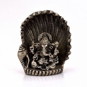 Vivan Creation White Metal Antique Lord Ganesha On Naag Idol 310