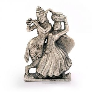 Vivan Creation Lord Radha Krishna Antique White Metal Idol 311