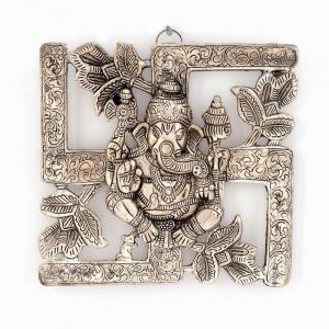Vivan Creation Antique White Metal Swastik Ganesha Hanging 313