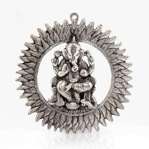 Vivan Creation Unique White Metal Chakra Ganesha Idol Hanging 314