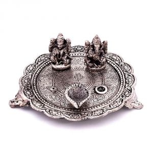 Temple Poojas - Vivan Creation White Metal Lord Laxmi Ganesh With Dia Thali 320