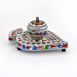 Vivan Creation Meenakari Sindoor Box N Tray In White Metal 328