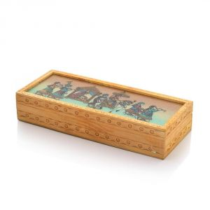Vivan Creation Carved Gemstone Painted Wooden Jewellery Box 354