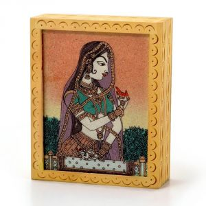Vivan Creation Ethnic Gemstone Painted Wooden Hot Jewelry Box 355