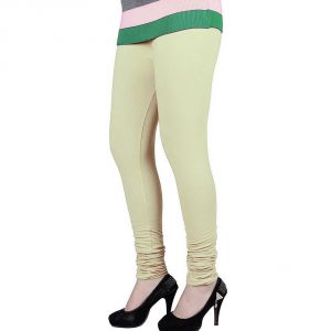 Vivan Creation Women Stylish Sexy Cream Color Comfortable Cotton Churidaar Leggings (product Code - Dli5lch214)