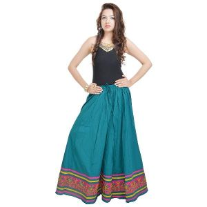 Vivan Creation Rajasthani Full Length Blue Skirt Free Size (product Code - Smskt507)