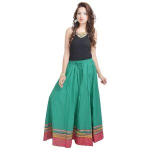 Vivan Creation Ethnic Rajasthani Green Cotton Long Skirt Free Size (product Code - Smskt512)