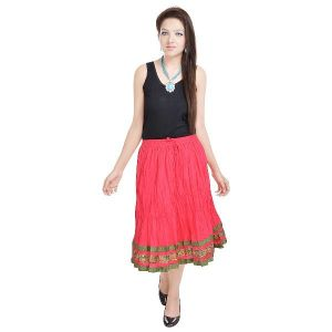 Vivan Creation Rajasthani Short Pink Skirt Free Size (product Code - Smskt514)