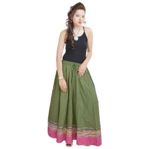 Vivan Creation Sunshine Rajasthan Green Long Skirt Free Size (product Code - Smskt517)