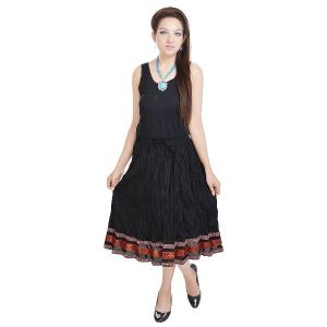 Vivan Creation Fashionable & Ethnic Black Cotton Long Skirt Free Size (product Code - Smskt520)