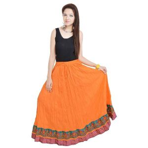 Vivan Creation A Beautiful Rajasthani Orange Skirt With Designer Border Free Size (product Code - Smskt521)