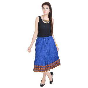 Vivan Creation Shree Mangalam Mart Fashionable & Ethnic Blue Cotton Long Skirt Free Size (Product Code - SMSKT522)