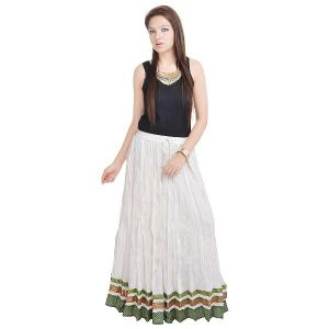 Skirts, Trousers - Vivan Creation Rajasthani Designer White Cotton Long Skirt Free Size (Product Code - SMSKT526)
