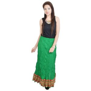 Vivan Creation Rajasthani Green Exclusive Cotton Skirt Free Size (product Code - Smskt527)