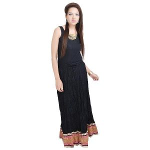 Vivan Creation Designer Black Full Length Skirt With Designer Border Free Size (product Code - Smskt529)