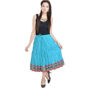 Vivan Creation Fashionable Sea Green Ethnic Cotton Full Skirt Free Size (product Code - Smskt530)
