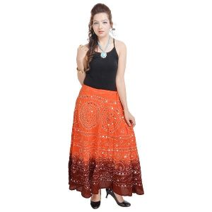 Vivan Creation Bandhej Exclusive Orange Cotton Skirt Free Size (product Code - Smskt533)