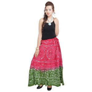 Vivan Creation Mirror Work Bandhej Rajasthani Cotton Skirt Free Size (product Code - Smskt535)