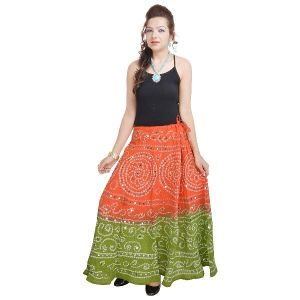 Vivan Creation Bandhej Exclusive Light Green Cotton Skirt Free Size (product Code - Smskt536)