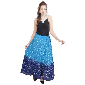 Vivan Creation Mirror Work Bandhej Rajasthani Cotton Skirt Free Size (product Code - Smskt537)