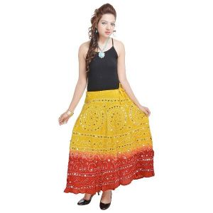 Vivan Creation Bandhej Exclusive Lemon Red Cotton Skirt Free Size (product Code - Smskt538)