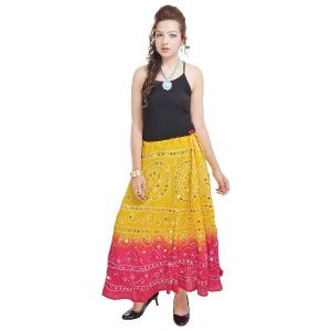 Vivan Creation Ethnic Yellow Long Cotton Skirt Free Size (product Code - Smskt540)