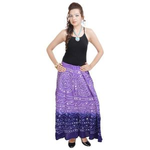 Vivan Creation Bandhej Exclusive Purple Cotton Skirt Free Size (product Code - Smskt541)