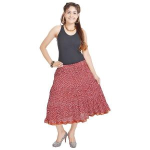 Vivan Creation Rajasthani Red Cotton Long Skirt Free Size (product Code - Smskt543)