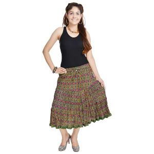 Vivan Creation Multicolor Rajasthani Fine Designer Short Skirt Free Size (product Code - Smskt544)