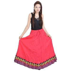 Vivan Creation Rajasthani Pink Cotton Long Lehenga Free Size (product Code - Smskt550)