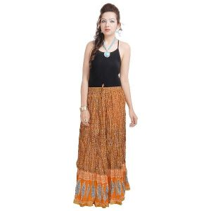 Vivan Creation Rajasthani Ethnic Yellow Cotton Skirt Free Size (product Code - Smskt553)